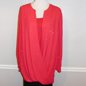 3X Catherines Red 2pc Sparkly Top & Camisole NWT